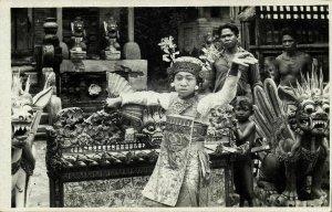 indonesia, BALI, Native Girl Legong Dancer, Gamelan (1936) RPPC Postcard