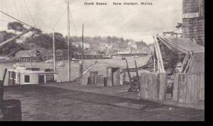 Maine New Harbor Dock Scene Albertype