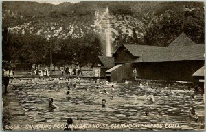 Glenwood Springs, Colorado Postcard Swimming Pool and Bath House 1909 Cancel