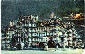 1912 Washington DC Rotograph State War Navy Building Night Moonlight Postcard GF