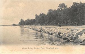Cleveland Ohio~Gordon Park~Buggy on Shore Drive~Heavy Rocks & Boulders~1907 B&W