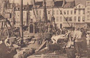 OSTENDE, Belgium, 1900-1910's; Unloading Fishing boats