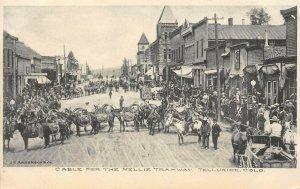 LP82   Telluride Colorado Postcard Nellie Tramway Cable  Mules