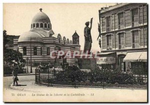 Old Postcard Statue of Liberty Oran The statue of liberty and the cathedral