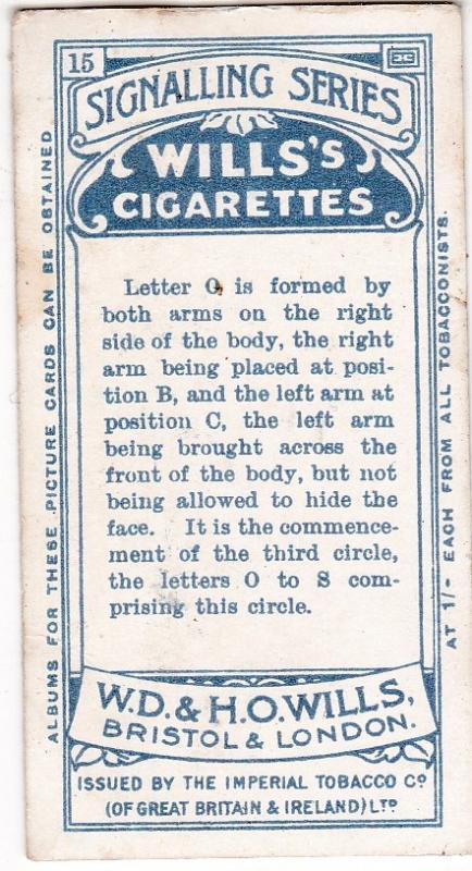 Cigarette Card  Wills Signalling Series No. 15 Letter O