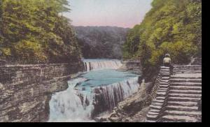 New York  Castile Letchworth State Park Lower Falls  Genesee River Albertype
