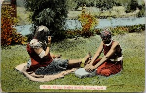 People Grinding Snuff South Africa South African Native Series Postcard E81