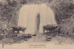 Oxen Cart, Cascade De La Verniere, L'Auvergne Illustree, France, 1900-1910s