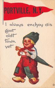 Portville NY I Alvays Enchoy Dis Goot Oldt Town, Yet~Boy Carries Umbrella 1913