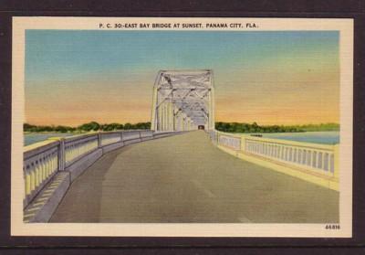 Florida colour PC East bay Bridge Panama City at Sunset, unused