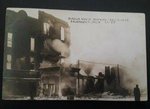 Mint Vintage 1909 Kalamazoo MI Burdick Hotel On Fire Real Photo Postcard