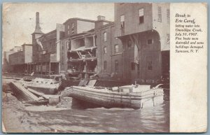 SYRACUSE NY BREAK IN ERIE CANAL 1907 ANTIQUE POSTCARD
