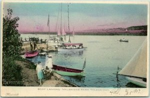 Toledo, Ohio Postcard Boat Landing - WALBRIDGE PARK Hand-Colored / 1907 Cancel