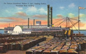 Linen 1939 USA Postcard Steamboat Robert E Lee at New Orleans loading Cotton 63Y