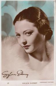 Sylvia Sidney Signed Photo Postcard