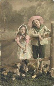 Postcard easter lovely fancy children huge floral egg surrealism beauty greeting