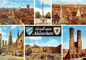 Gruss aus Muenchen, Marienplatz Frauenkirche Karlsplatz, Square Auto Tram Cars