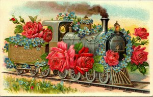 Vintage Birthday Greetings Post Card, A Train Decorated With Flowers, EDWARD