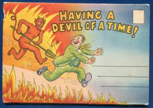 Having a Devil of a Time Comics strip linen postcard folder