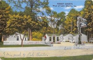 Lake Charles Louisiana~Forest Courts~Motel Motor Lodge Cabin~1940 Linen Postcard