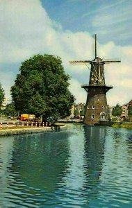 Netherlands Dutch Windmill Korenmolen de Walvisch Schiedam Postcard