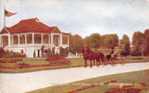Davenport Iowa~Central Park Pavilion~Men in Buggy~2 Horse Team~1910 Postcard