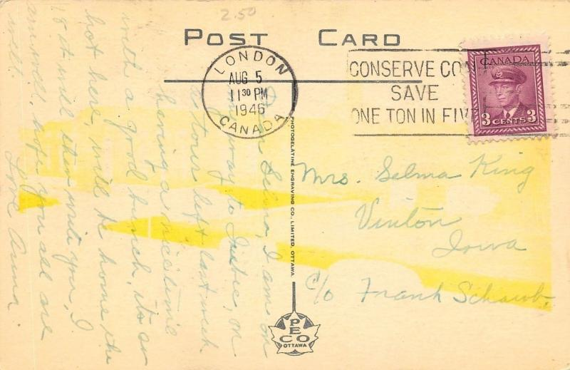 London ON~Canadian Northern Railroad Station/Depot~Vintage 1940s Cars~Postcard