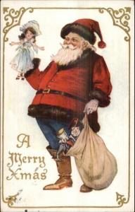 Santa Claus Holding Doll Series #23 Mailed Cancel Christmas Day 1924 Postcard