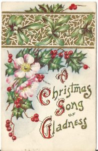 Cheerful Country Roses, Mistletoe and Holly decorate this beautiful Vintage Post