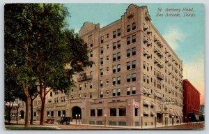 San Antonio Texas~St Anthony Hotel Close Up~Front & Side Entrances~1908 Postcard
