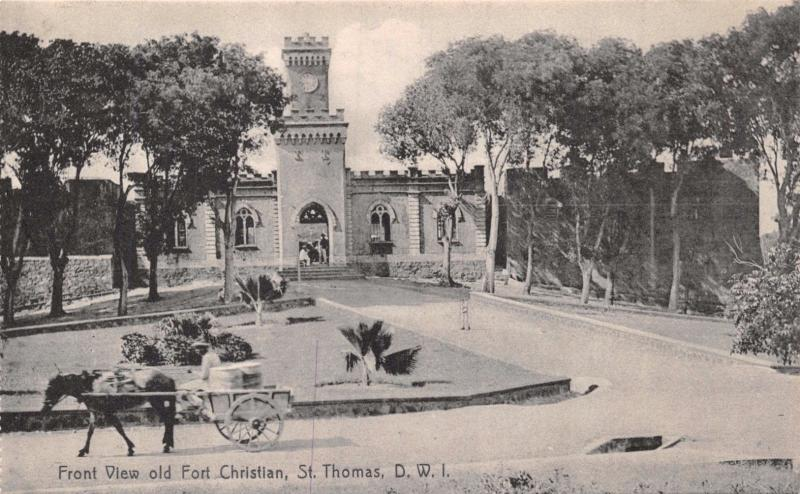 ST THOMAS DWI~FRONT VIEW OLD FORT CHRISTIAN~LIGHTBOURNS PHOTO POSTCARD 1910s