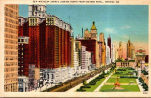 Illinois Chicago Michigan Avenue Looking North From Stevens Hotel 1948