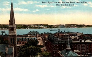 Connecticut New London Birds Eye View and Thames River Curteich
