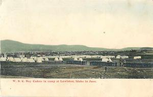 W.S.C. Boy Cadets in Camp at Lewiston, Idaho, ID 1907 Divided Back