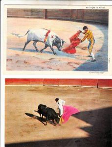 P1907, 2 postcard scenes bull fights mexico, 1 1939 postmark other unused