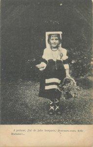 Postcard ethnic type flower girl folk traditional costume