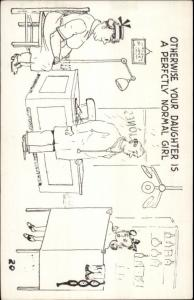 Young Woman & Mother in Doctor's Office - Joke? Postcard