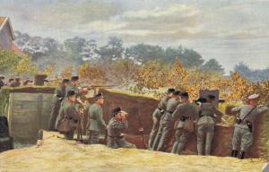 Military Grenadiers in gedekte Stelling met Mitrailleur 01.83