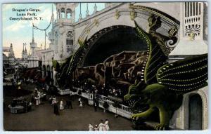 CONEY ISLAND, New York  NY   Luna Park  DRAGON'S GORGE  ca 1910s    Postcard