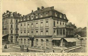 luxemburg, LUXEMBOURG, Grand Hotel Clesse, Place de la Gare (1940s) Postcard