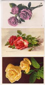 3 - Cards with Roses, 1 Artist Signed