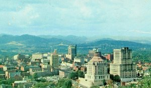 Postcard Aerial View of Asheville, NC from Beaucatcher Mountain.      S1