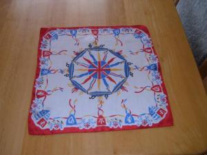Silk Handkerchief, Early '50's United Kingdom Souvenir 13inches Square