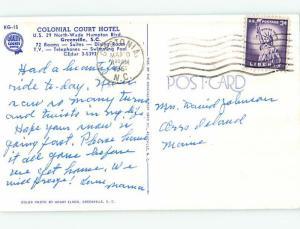 1950's COLONIAL COURT HOTEL Greenville South Carolina SC Q6182