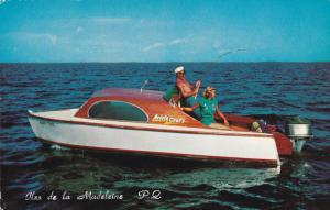 Man and Woman Fishing, Motor Boat, ILES DE LA MADELEINE, Quebec, Canada, 40-6...