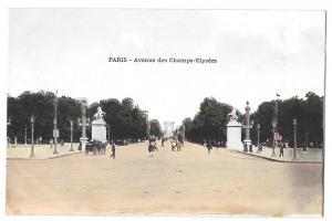 Paris France Avenue des Champs Elysees Vintage Postcard
