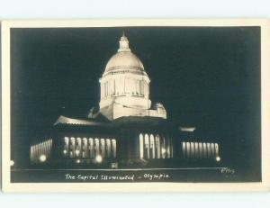 Pre-1950 rppc CAPITOL AT NIGHT Olympia Washington WA i5929