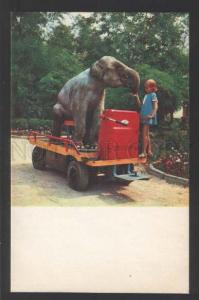 117922 ELEPHANT & Girl on Car CIRCUS old Russian Photo PC