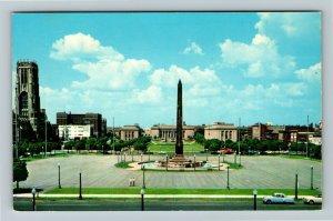 Indianapolis IN- Indiana, Indiana World War Memorial Plaza, Chrome Postcard