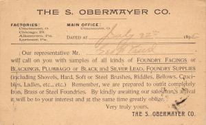 Cincinnati Ohio~S Obermayer Co~Foundry Facings, Supplies Salesman~1895 Postal